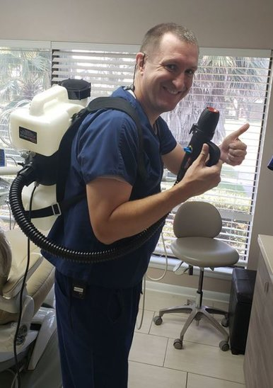 Pasadena Texas Dentist Dr. Nugent uses a fogger to kill Corona Virus